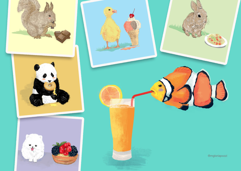 The little animals in vivid colors, that instead of being eaten, eat sweets, pizza, spaghetti ... there is the squirrel that eats chocolate, the panda that eats the donut, the rabbit the spaghetti .. etc.