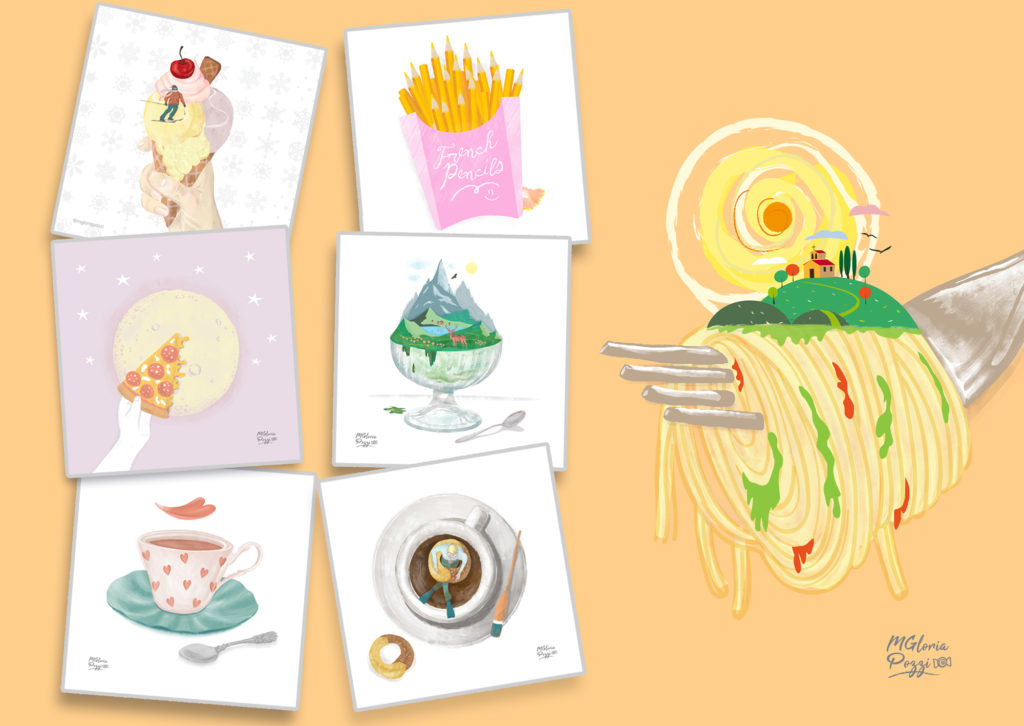 Simple and playful drawings on food ... There is the skier on the ice cream, the slice of luna pizza, the flower of coffee, the pencils in the shape of fries, the ice cream in the shape of a mountain, the coffee with the little man immersed in a lifesaver cookie