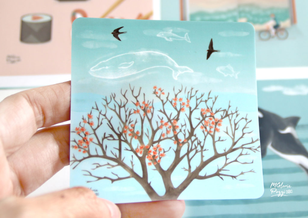 Blue skies in spring - Sticker -By Sweetcandyroll and Sticker by Stickerapp.com