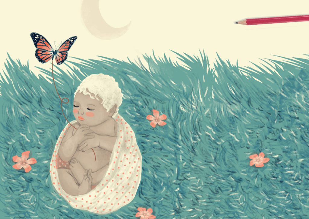 Luna's childhood among the spring flowers - Illustration of the eBook UNIVERSES Moon and sun a love story