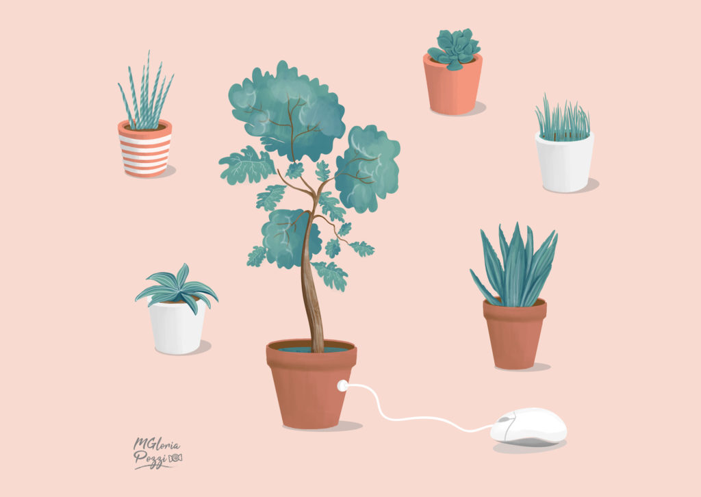 illustrations of potted houseplants with embedded wire and mouse
