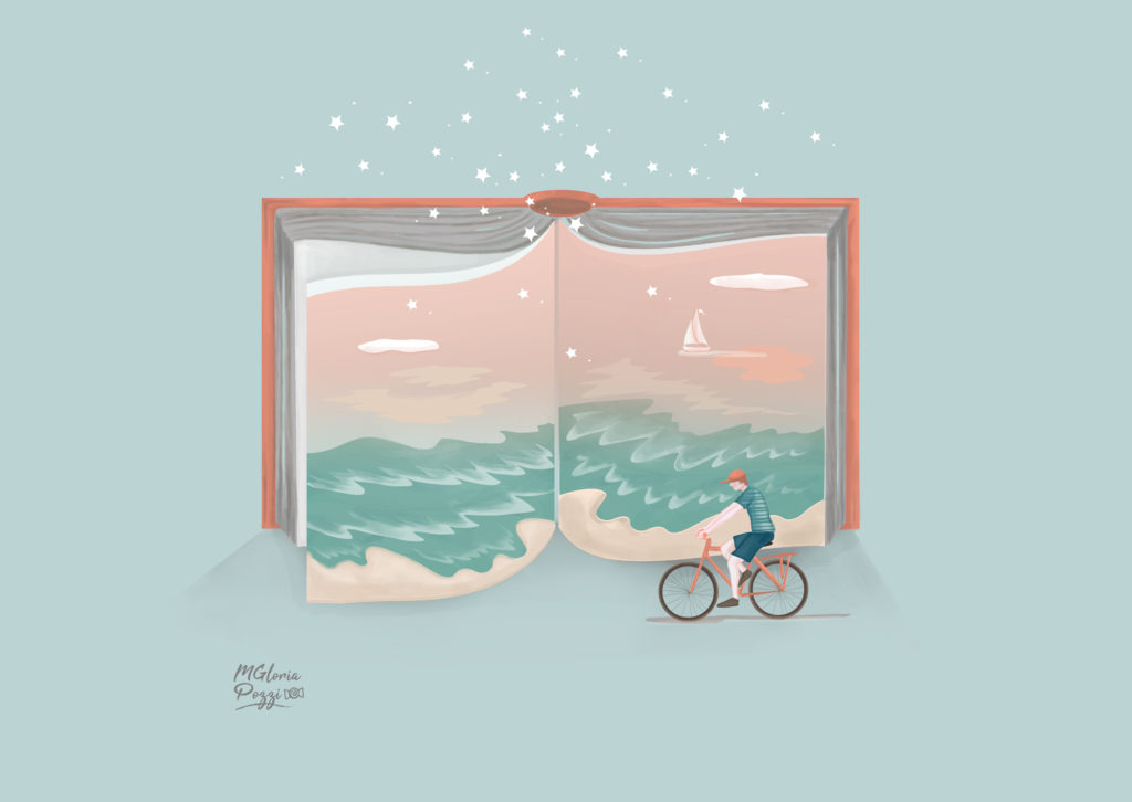 The sea at sunset - Sweetcandyroll - An open book with the sea and the sunset and a boy who goes cycling and many stars