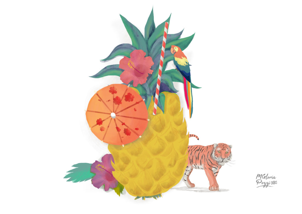 pineapple with parrot and tiger parasol...