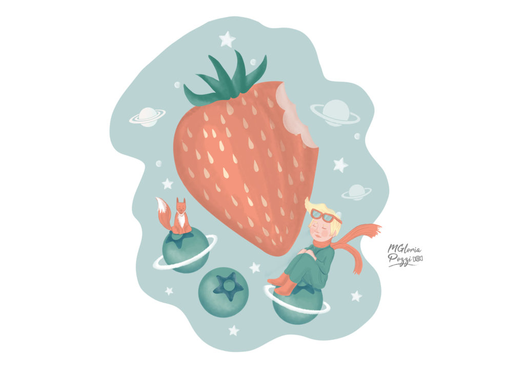 Planetary fruits, Strawberries and currants like planets, where the fox and the little prince live!