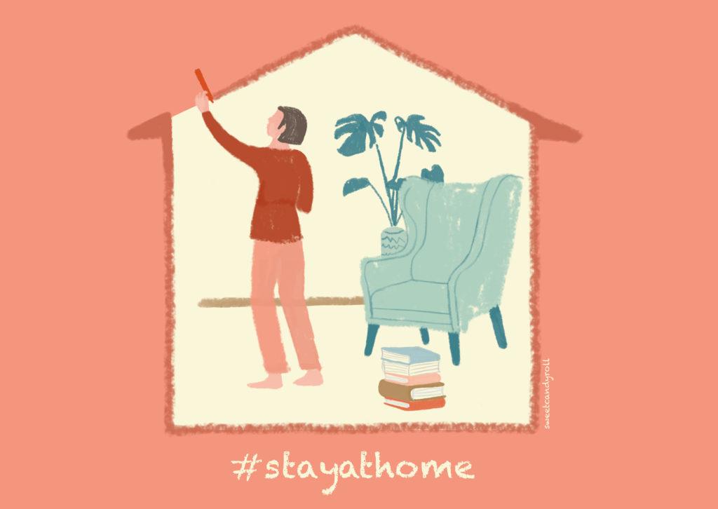 #stayathome illustration by Sweetcandyroll