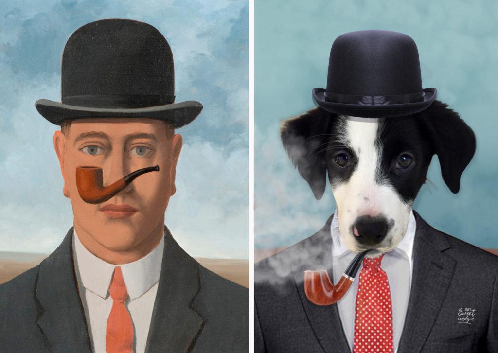 René Magritte, La bonne foi - Pinta Dog by Sweetcandyroll