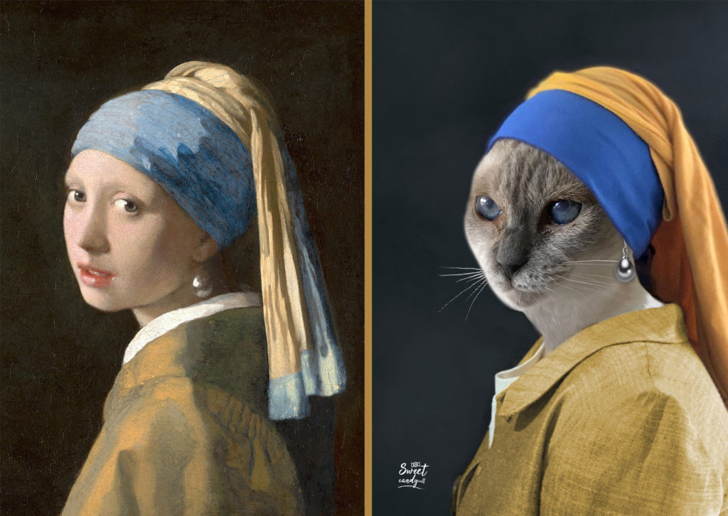 The Cat with the Pearl earring - La Gatta con l'orecchino di Perla! - by Sweetcandyroll