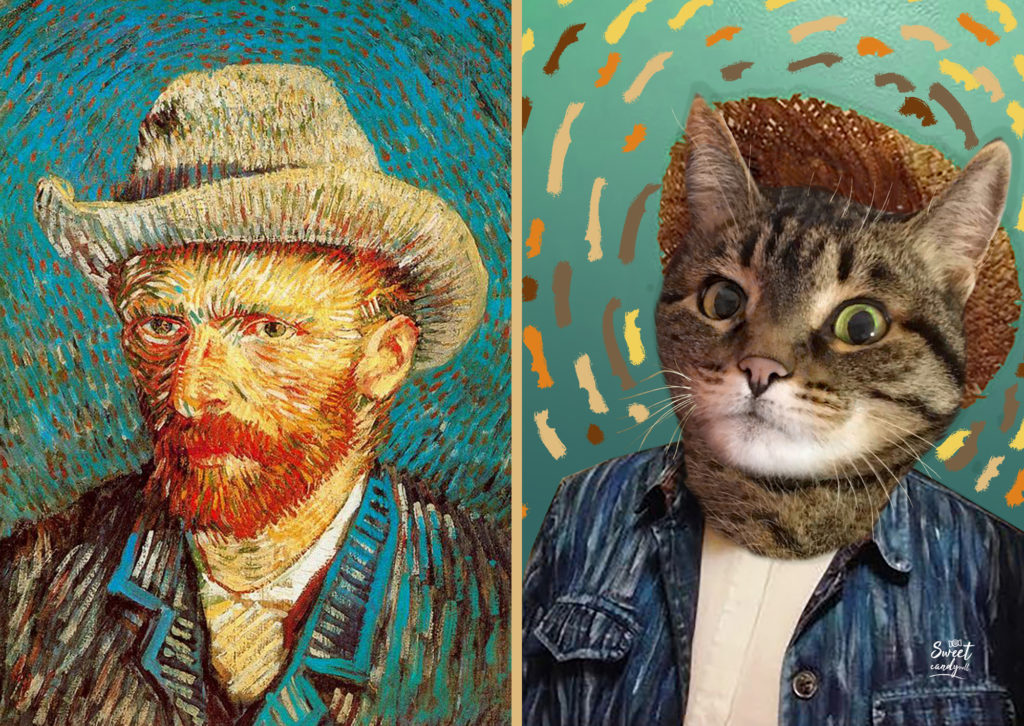 Van Gogh, self-portrait with hat - Briciola Cat by sweetcandyroll