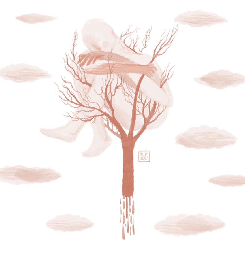 albero uomo nuvole